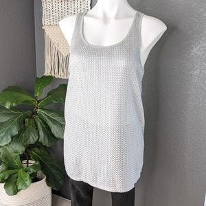 Trouve Silver Grey Textured Tank Top